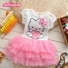 Toddler Girls Hello Kitty Layered Dress White Short Sleeve Shirt Patchwork Tutu Dress Kid Princess Dresses Summer Child Sundress(China)