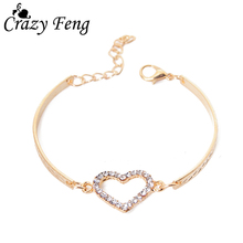 Romantic Love Heart Shaped Charm Bracelets Bangles Jewelry For Women Gold-color Austrian Crystal Chain Bracelet Pulseras