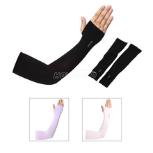1 Pair Unisex Ice Silk Half-finger Sunscreen Protection Cuff Arm Sleeves For Outdoor Cycling Car Driving Sunscreen Arm Sleeve