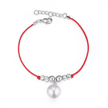 Made with Swarovski Element Jewelry for Women Fashion Big Austrian Pearl Red Thread String Rope Bracelets Woman's Casual Bijoux(China)