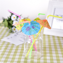 50pcs Umbrella Drinking Straws Food Grade Plastic Christmas Decorative Straws For Wedding Birthday Party Suppliers Mixed Color