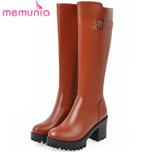 MEMUNIA 큰 size 34-45 니 (high) 저 (부츠 in autumn winter platform shoes woman PU soft leather (high) 저 (힐 부츠 암(China)