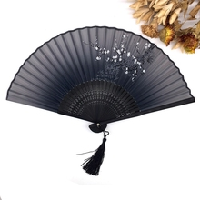 High Quality 1PC Classic Bamboo Silk Blend Japanese Chinese Handmade Pocket Fan Folding Hand Held Fan Free Shipping
