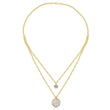 New Arrival Jewelry Necklace Romantic Moon Light Coin Pendant Paving CZ Double Chain Necklace , Gold/ Silver Color(China)