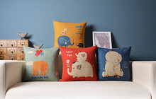 Elephants friend  Lovely Nordic illustrator Linen pillow  cotton cushion  Square Pillowcases Home Decor sofa cushions