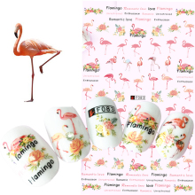 1 Sheets Colorful Tropical Flamingo Sticker Nail Art 3D DIY Accessory Fashion Animal Decals Nail Wraps Decorations Tips CHF083