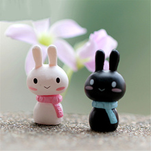 2 pcs/ Set kawaii Rabbit Cartoon Miniature Resin rabbit Fairy Garden Decor Ornament Pot Micro Landscape Bonsai DIY Dollhouse