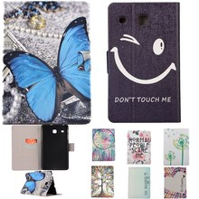 "Tablet Cover For Samsung Galaxy Tab E 8.0"" SM-T375 T377 T377V SM-T377 Case Butterfly Black Smile Face PU Leather Flip Stand Bag"