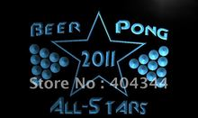 LK568- Beer Pong 2009 All Stars Champ   LED Neon Light Sign    home decor  crafts