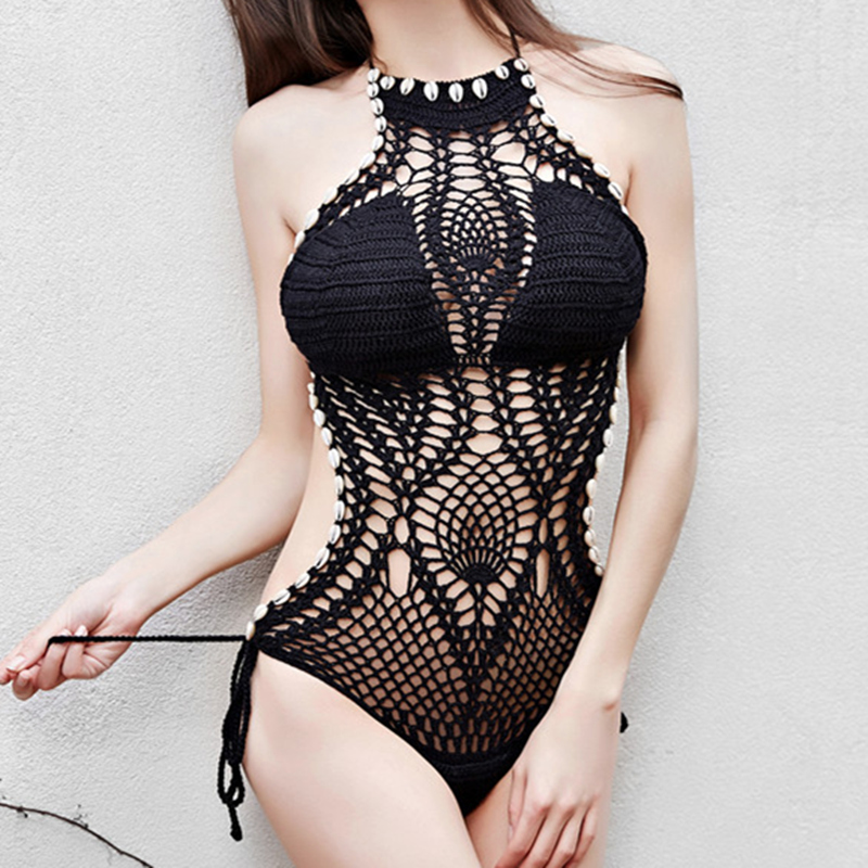 Shell Conch Swimsuit Women Weave High Neck Bikini Sex Crochet Eye Catching 4 Colors Seaside Beach Holidays Bathing Suits<br><br>Aliexpress