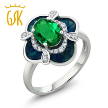 GemStoneKing 1.29 Ct Oval Green Simulated Emerald 925 Sterling Silver Enamel Flower Ring Free Shipping Sterling Silver Flower(China)