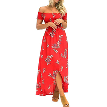 Buy Shoulder Chiffon Long Dress Floral Print Ruffles Women Strap Split Beach Summer Dress 2017 Casual Sexy Maxi Dresses Vestidos for $11.58 in AliExpress store