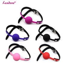 Buy 1 pcs/lot Adult Games Open Mouth Ball Gag Leather Mouth Gag Slave Oral Fixation Stuffed Flirting Bondage Sex Toys Couple