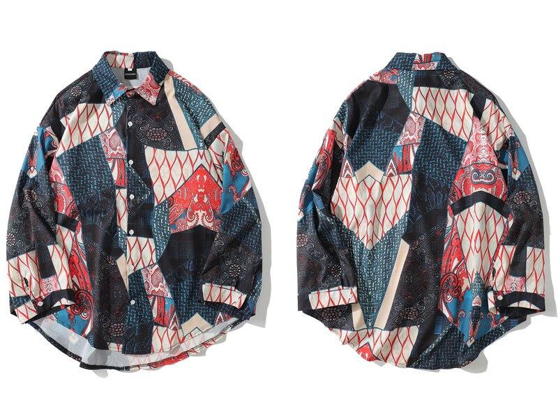 Ukiyo E Geometry Patchwork Shirts 1