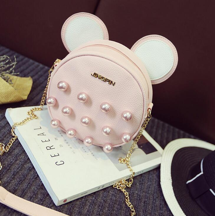 Quality women bag 2017 new fashion handbags ladies pearl chain packet shoulder Mickey cartoon Mickey ears round bag handbags<br><br>Aliexpress