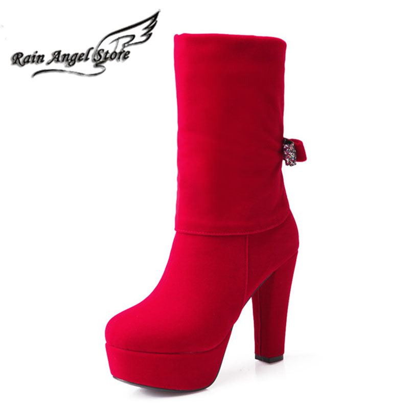 Plus Size 34-43Rhinestone Women Ankle Boots Heels Autumn And Winter Round Red High Heel Boots Bow Bride Wedding Boots<br><br>Aliexpress