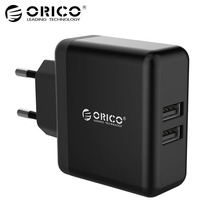 ORICO Dual-port Mobile Phone Charger 5V2.4A 15W USB Travel Charger Portable Smart Wall Adapter EU Plug Black/White
