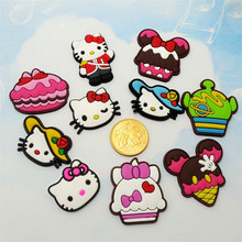 50PCS Lovely Cartoon Hello Kitty Cat Soft Decoration Accessories Flat PVC DIY Gadgets Fit Bracelets,Shoe Charms