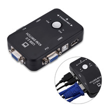 2 Port USB 2.0 KVM Switch SVGA VGA Switch Box Monitor Keyboard Mouse Printer Adapter Connects for Computer