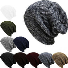 New Autumn Winter Men Women Slouch Skull Cap Oversize Long Beanie Baggy Cap Crochet Knit Hat