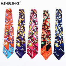 2017 New Hot Twillies Luxury Brand Small Floral Print Twill Silk Scarf For Women Fashion Headwear Bag Ribbon Long Scarves(China)