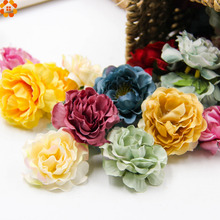 1DIY Artificial Silk Flower Head Home Wedding Party Decoration Wreath Gift Box Scrapbooking Fake Flowers - DIY House Factory Direct Online Store store