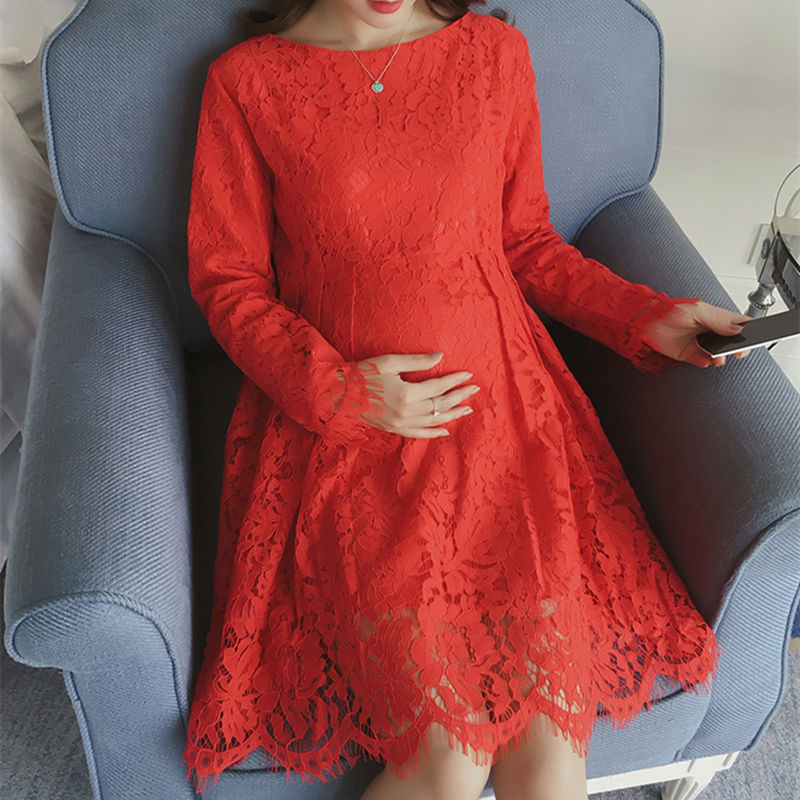 Elegant Lace Maternity Dresses Slim Long-Sleeved Women Party Summer Dress Maternity Clothes M-2XL Size<br><br>Aliexpress