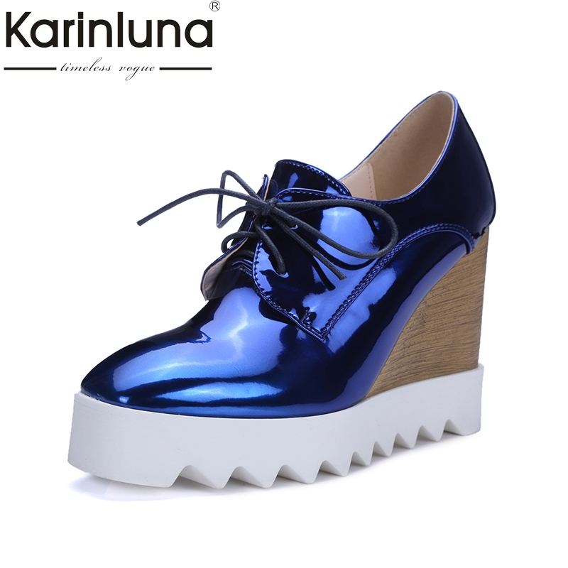 Karinluna 2018 Dropshipping New Brand Shoes Women Sexy Platform Wedge High Heels Spring Top Quality Casual Shoes Pumps Woman<br>