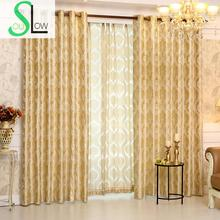 Romantic Jacquard Curtain Cloth Curtains And Tulle Modern Geometric Curtains Luxury Hotel Cortinas For Living Room French Floral