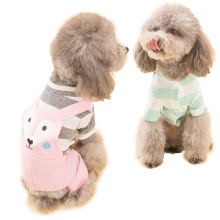 Hipidog Spring Summer Dog Cat Strip Shirt Jumpsuit Romper Bodysuit Puppy Overcoat Fox Pants Outwear Clothes for Small Dogs Pets