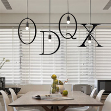 Hot sale 26 letters DIY iron Pendant lighting,industrial style bar restaurant cafe study room creative suspension lamp light