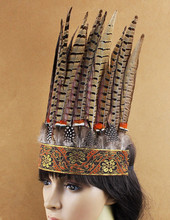 Free Shipping! Indian Style Headdress Oversize Feather Headband Dress Prom Dance Party Headwear Hair jewelry(China)