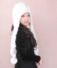 H576-Warm Ultra long ear protector  genuine fur  women autumn  winter scarf,red white black gray hat of rex rabbit