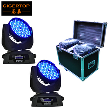 Flight Case 2in1+2pcs/lot 108x3W Led Moving Head Wash Light,DMX 512,12DMX Channel Beam Angle 15Degree Led Moving Head Light RGBW