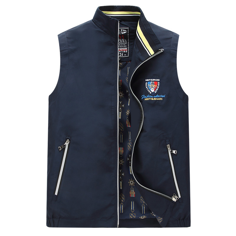 Brand !Hot selling Spring& Autumn Men Stand Collar Cotton Vest polo Embroider Comfortable Casual Men's Vest Jacket M-4XL(China)