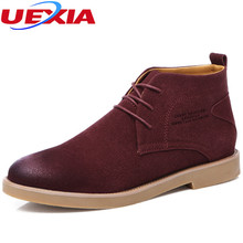 UEXIA Luxury Leather Chelsea Men's Lace-up West Fashion Vintage Casual Short Martin Ankle Boots Men Shoes Tacticas Zapatos Homm(China)