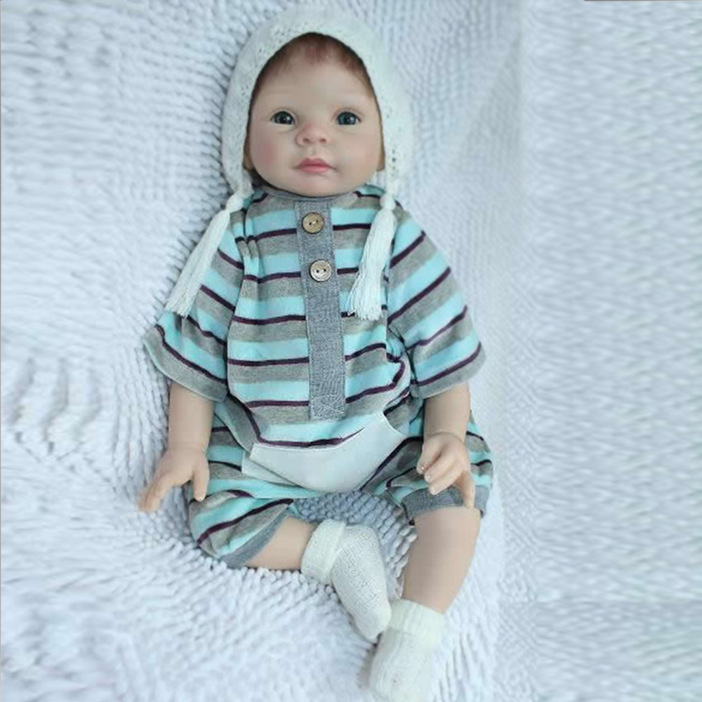 New Arrival 50-55cm Handmade Silicone Reborn Baby Doll Soft Touch Body Blue or Brown Eyes Cute Baby Reborn Doll FreeShipping<br><br>Aliexpress