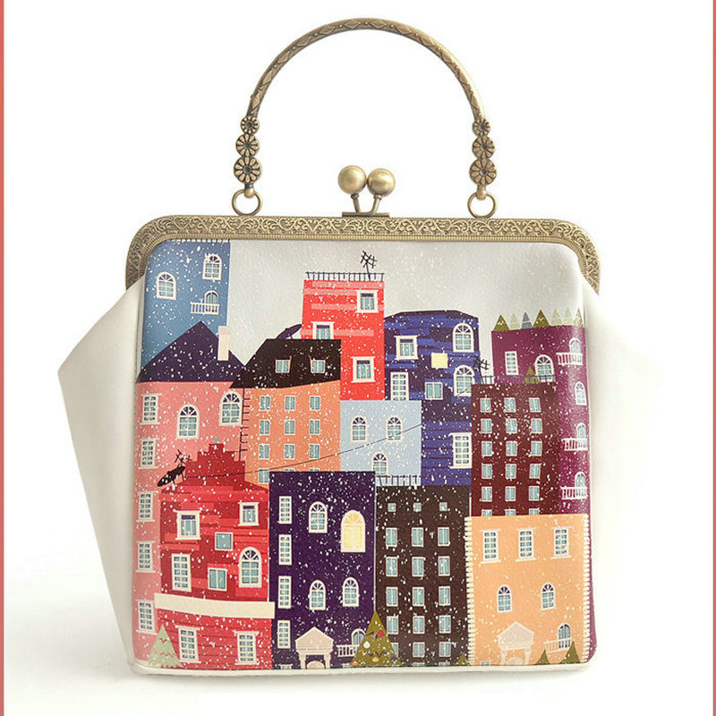 Childlike fun drawing house picture clasp handbag classic ladies handbag womens vintage metal frame clip bag tote cross body<br><br>Aliexpress