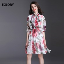 Beautiful Dress Spring Summer 2018 Women Charming Floral Print Puff Sleeve Large Swing Casual Ladies Chiffon Beach Sundress(China)