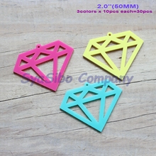 "(3colors,30pcs/lot) 50mm Acrylic Diamond DIY Decor Yellow, Turquoise, Hot Pink, Jewelry Ornaments  2"" -AC1390KO"