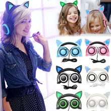 Amazing Cat Ear Headphones with LED Light,Foldable Cosplay Cat Headset Luminous Bluetooth Kitty earphone with Mic for cell phone