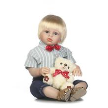 NPK 70cm  handmade lifelike silicone reborn baby boy toddler fashion dolls gift blonde hair wig with bear plush doll  boneca
