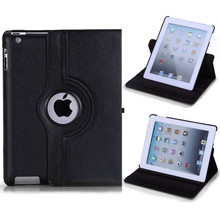 Hot sale 360 Rotate PU Leather Smart Stand Case Flip For apple iPad 4 for iPad 3 for iPad 2 Rotating Cover Tablet Case+pen+film