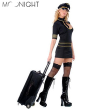 Buy MOONIGHT Sexy Flight Attendant Costume Air Outfits Short Sleeve Stewardess Costumes Erotic Dress Porn