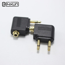 1pcs Gold-plated Airplane Air Plane 3.5mm Airplane Airline Headphone Stereo Audio Converter Travel Jack Plug Splitter Adapter(China)