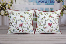 Embroidered Decorative Cotton Canvas Natural Garden Floral Botanical Piped Gift Sofa Car Cushion Cover Throw Pillow Cover Case
