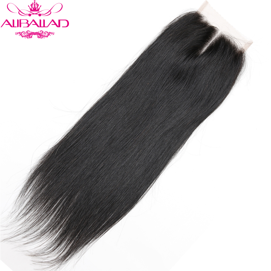 Aliballad Brazilian Straight Middle Part 4x4 Lace Closure 10-20 Inch Non-Remy Hair Natural Color 100% Human Hair Free Shipping1