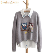 Autumn Winter Women Long Sleeve Round Neck Owl sweater Pattern Casual Pullover Slim Sweaters Girls Pullovers knitted warm Top(China)