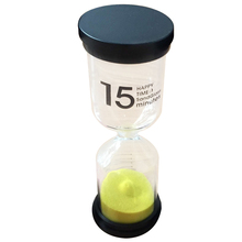 Practical Boutique 1 Yellow Glass + Sand 15 minute tick time Hourglass With packaging 13*4.3CM