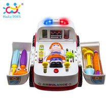 2-in-1 Ambulance Doctor Vehicle Set Baby Toys Pretend Doctor Set and Medical Kit Inside Bump and Go Toy Car with Lights & Sounds(China)